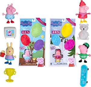 Peppa Pig Surprise Balloons, 2 Bundle Pack - Movie and Winter Themes, Series 2 - Includes 2 Exclusive Character Toy Figures, 1 Themed Accessory, and 1 Glitter Surprise