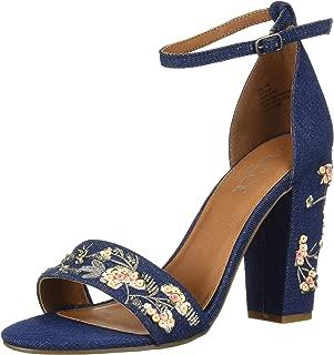 Sugar Women's Silck Flower Floral Embroidered Block High Heel Sandal