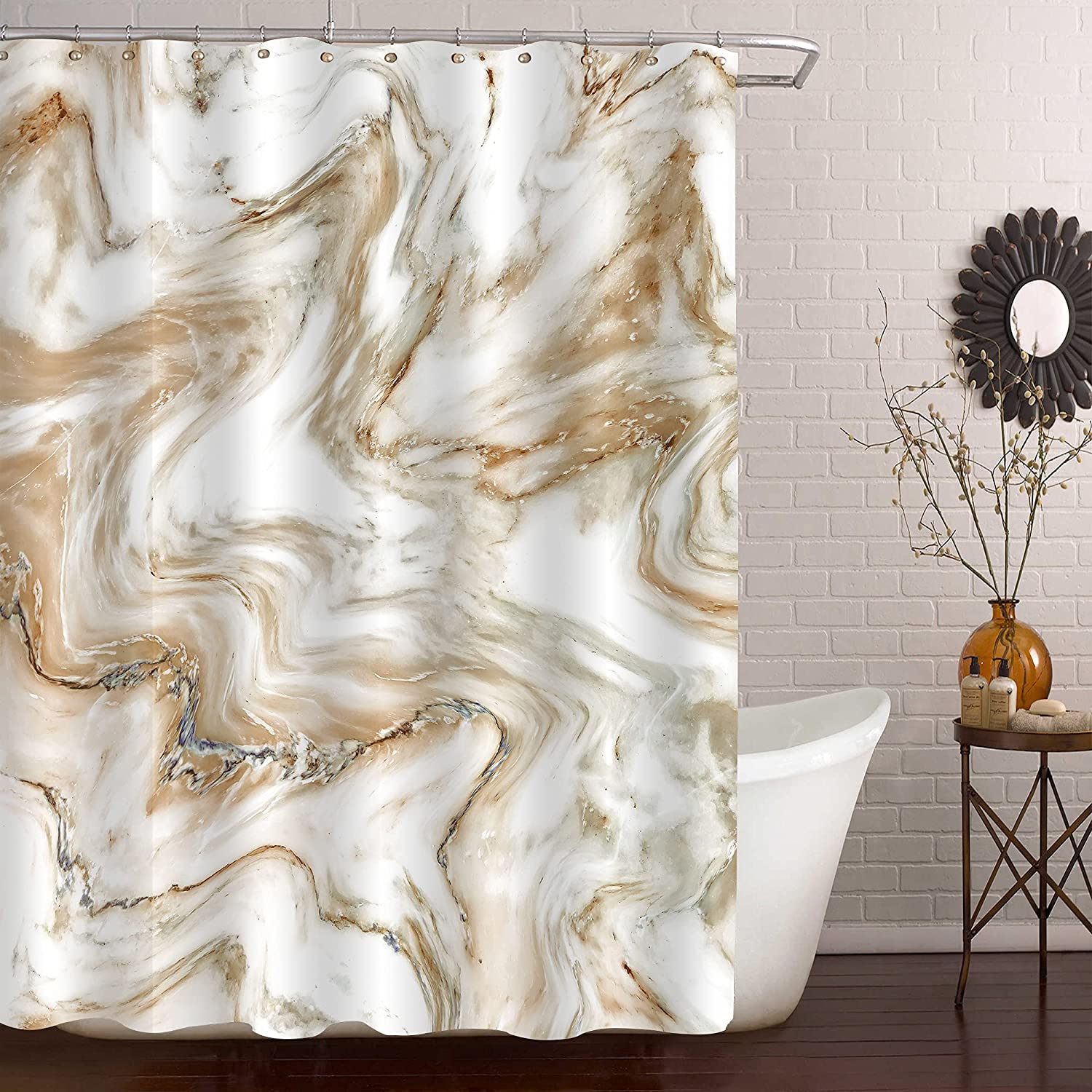 MitoVilla Brown Max 41% Popular products OFF Extra Long Shower Ma Curtain Length 96 in