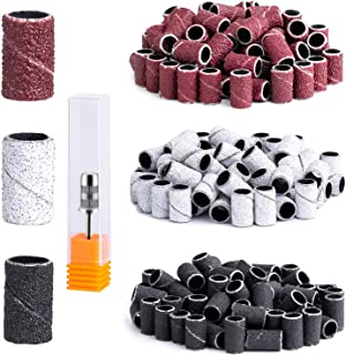 MelodySusie 300 Pcs Professional Sanding Bands with Mandrel for Nail Drill, 80 Coarse, 120 Medium, 180 Fine Grit EFile San...