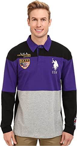 Jersey Color Block Rugby Polo