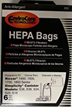 (Ship from USA) 6 pk RICCAR HEPA Type H Vacuum Bags Part 855