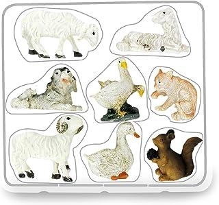Ferrari & Arrighetti Statuine animali presepe: set 8 statuette pecore, cane, oche, gatto, scoiattolo, in resina dipinta a ...