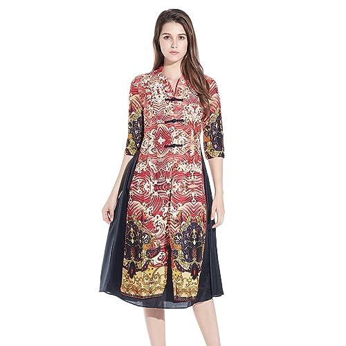 8e24826154ae0 HÖTER Women s Qipao High Split Slim Dress Printed Sleeveless Vintage Chinese  Silk Cheongsam