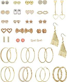 HANPABUM Juego de 27 pares de pendientes de tuerca para mujer, diseño de borla de moda, lindos pendientes de perlas de amo...
