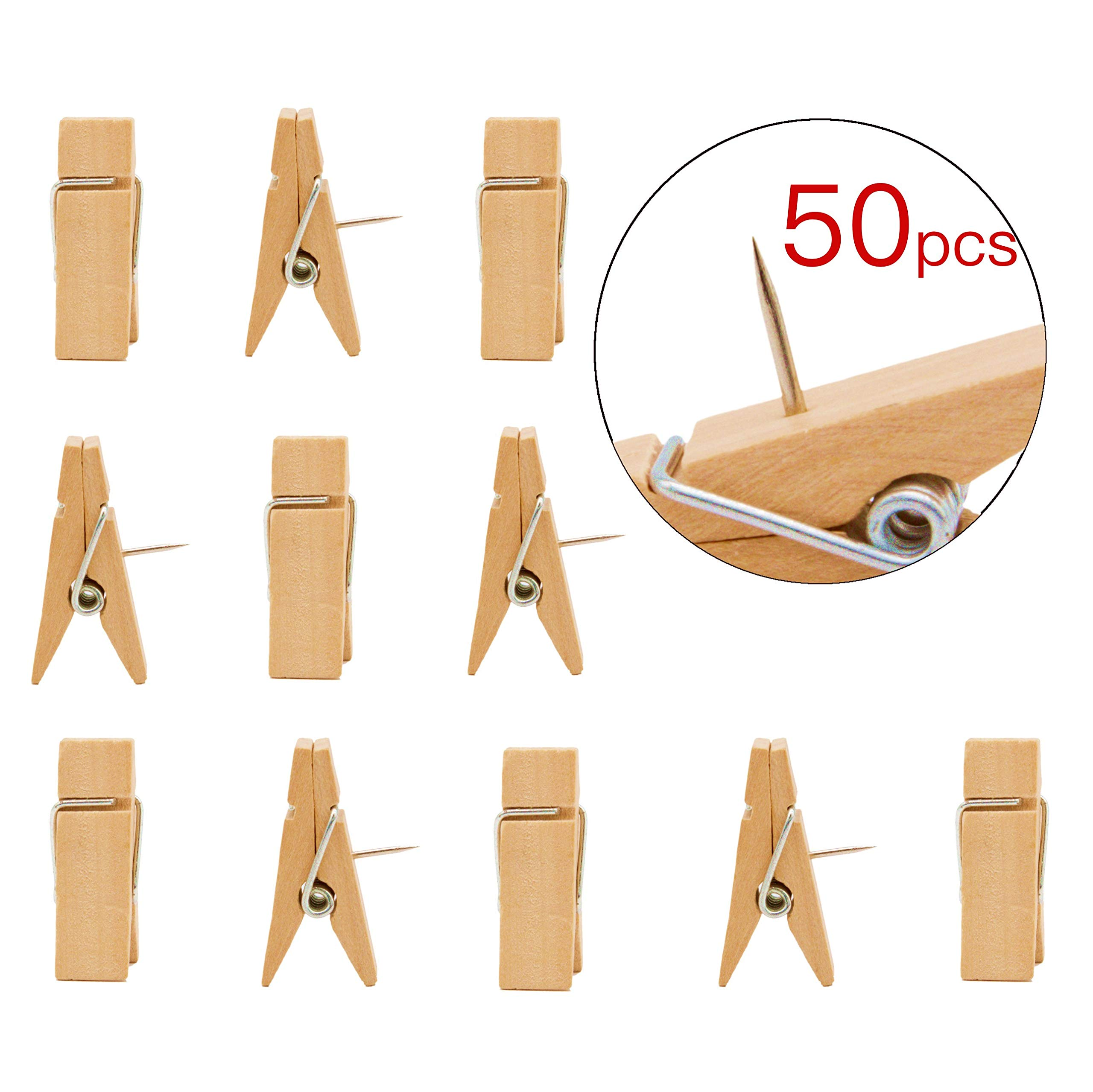 Geometric Wooden EKR VBLab 30 Count Never Falling Off Wooden Push Pins