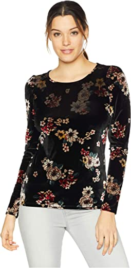 Long Sleeve Crew Neck Floral Story Velvet Top