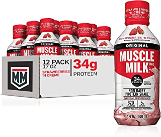 Sponsored Ad - Muscle Milk Original Protein Shake, Strawberries 'N Creme, 34g Protein, 17 FL OZ, 12 Count