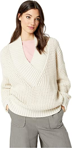 Chunky Waffle Stitch V-Neck Sweater