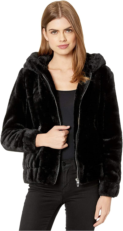 [BLANKNYC] womens Faux Fur Hooded Bomber