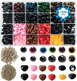 SOTOGO 1040 Pieces Colorful Plastic Safety Eyes and Noses with Washers Assorted Sizes for Doll,Puppet,Teddy Bear,Plush Animal