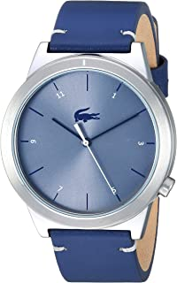 Lacoste Men's Motion Stainless Steel Quartz Watch with Leather Calfskin Strap, Blue, 20 (Model: 2010989)