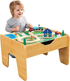 KidKraft 2-in-1 Reversible Top Activity Table with 200 Building Bricks & 30Piece Wooden Train Set - Natural