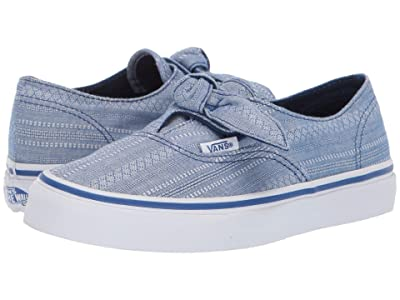 Vans Kids Authentic Knotted (Little Kid/Big Kid) ((Lace Chambray) True Blue/True Blue) Girls Shoes