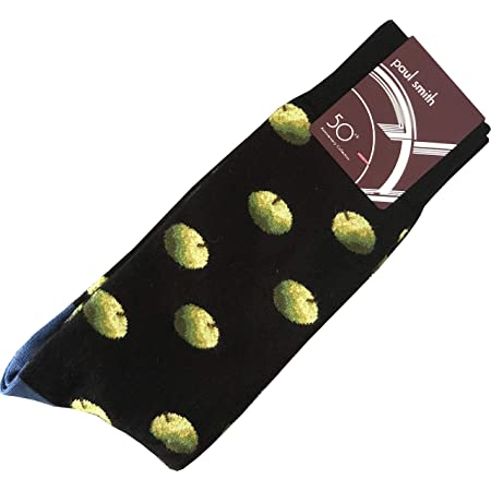 """PAUL SMITH """"Apple Archive 50th Anniversary Collection"""" Mens Cotton One Size Socks Black Maroon with Green Apples & Pink Toe & Heel"""