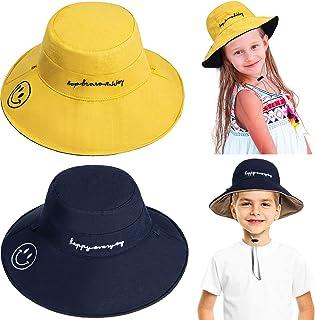 2 قطعة أطفال سمايل فيس قبعة شمس قابلة للتعديل شاطئ الصيف مزدوجة الوجهين قبعة الرباط واسعة الحافة للأولاد والبنات أصفر، بيج