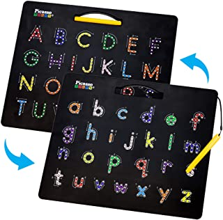 PicassoTiles 2-in-1 Double Sided Magnetic Alphabet Board ABC A-Z Upper Case Capital and Lowercase Letter Writing Reading P...