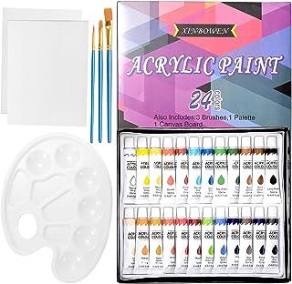 ZITFRI 24 Couleurs Tubes de Peinture Acrylique en Tube 12ml avec 3 Pinceau de Peinture 1 Palette de Couleur 2 Planches à D...