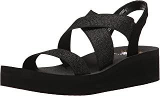 Yellow Box Women's Criss Cross Elastic Upper Wedge Sandal, Black/Metallic, 6 M US