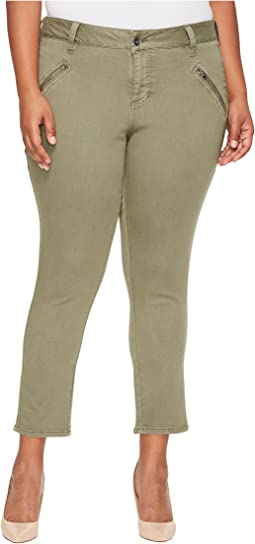 Plus Size Ryan Skinny Freedom Colored Knit Denim in Silver Pine
