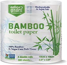 Nature's Greatest, 100% Bamboo & Sugarcane Toilet Paper, 2 Ply, 300 Sheets, 4 Rolls (Pack of 24)