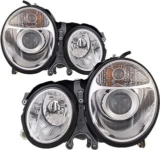 HEADLIGHTSDEPOT Compatible with Mercedes-Benz E320 Chrome Projector Halogen-Type Headlights Set New