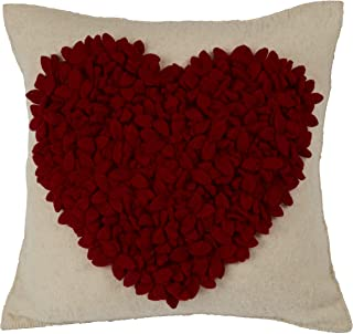ARCADIA HOME Hand Felted Wool Heart Christmas Pillow Cover, 20