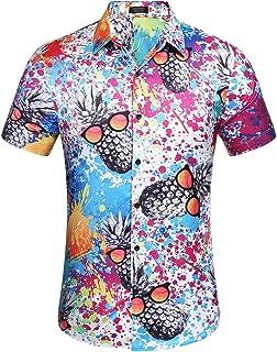 COOFANDY Mens Hawaiian Shirts Camp Beach Short Sleeve 3D Print Tropical Fruit Aloha Tee