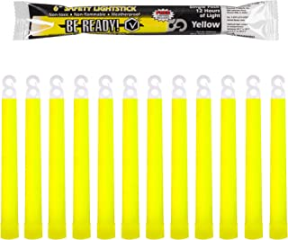 Be Ready Yellow Glow Sticks - Industrial Grade 12 Hour Illumination Emergency Safety Chemical Light Glow Sticks