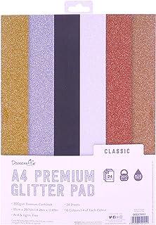 Trimcraft DCGCD031 Glitter Card A4 Pad - Classic - 24pcs, Multicolor, 1