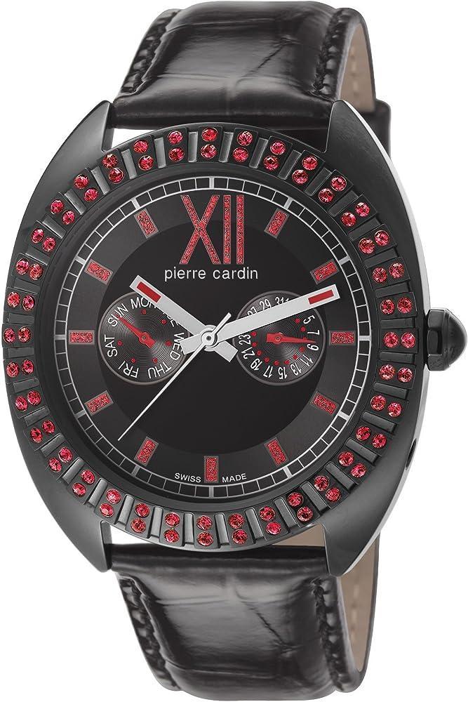 Pierre cardin, orologio,cronografo per donna,lunetta decorata con pietre rosse,cinturino in pelle cassa in acc PC106032S10