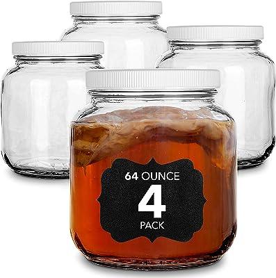 64 Oz Glass Jar with Plastic Airtight Lid (4 Pack) - Includes 6 Chalkboard Labels & 12 Pieces of Dustless Chalk - Half Gallon Mason Jar for pickling, fermentation, brewing, food storage