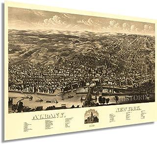 HISTORIX Vintage 1879 Albany NY Map - 24x36 Inch Vintage Albany New York Wall Art - Old Albany New York Map - Bird's Eye V...