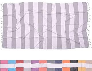 The Riviera Towel Company Biarritz Light Grey Turkish Towel for Bath & Beach - Swimming Pool - Yoga Pilates - Picnic Blanket - Scarf Wrap - Peshtemal Hammam Fouta