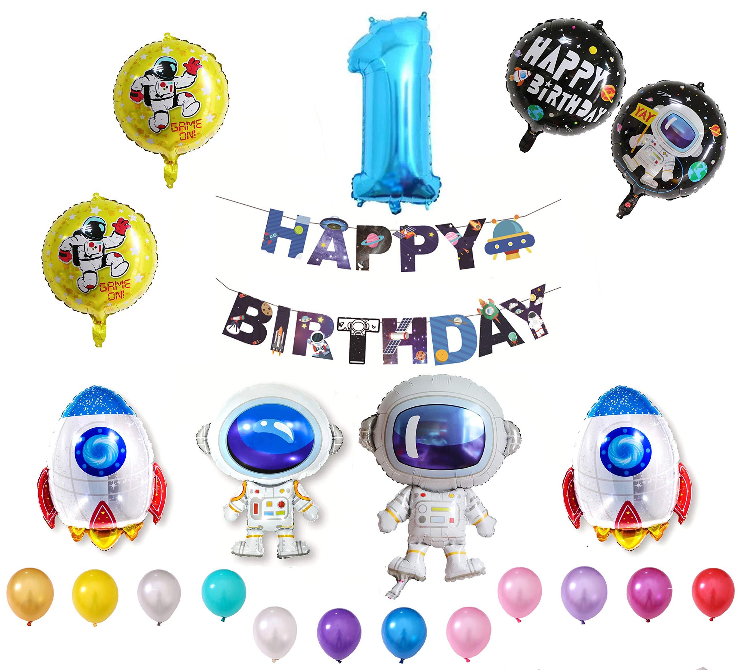 QING Globo Cumpleaño 1 Año para Niña y Niño 109 Piezas Decoración Espacio Bandera Happy Birthday: Amazon.es: Juguetes y juegos