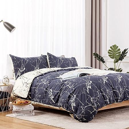 Dreamcountry 100% Cotton Duvet Cover Set 3 Pieces (2 Pillowcase,1 Duvet Cover) Luxury Soft Bedding Set with Zipper & 8 Closure Corner Ties, Cozy Cotton Duvet Cover Set