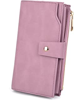 UTO Women's RFID Blocking PU Leather Long Wallet Clutch 21 Card Slots Holder Organizer Ladies Purse with Wristband Large Capacity Inner Pocket Fits 5.5'' Cellphones Pink