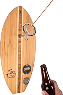Tiki Toss Hook and Ring Toss Game - 100% Bamboo Only 5 Minutes to Setup - Choose from a Variety of Styles Including Original, Color, Hawaiian, or Bottle Opener