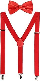 Suspender Bow Tie Set Clip On Y Shape Adjustable Braces, Pant Suspenders Shoulder Straps for Cosplay Party
