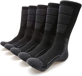 MIRMARU Men's 5 Pairs Hiking Outdoor Trail Running Trekking Moisture Wicking Cushion Crew Socks