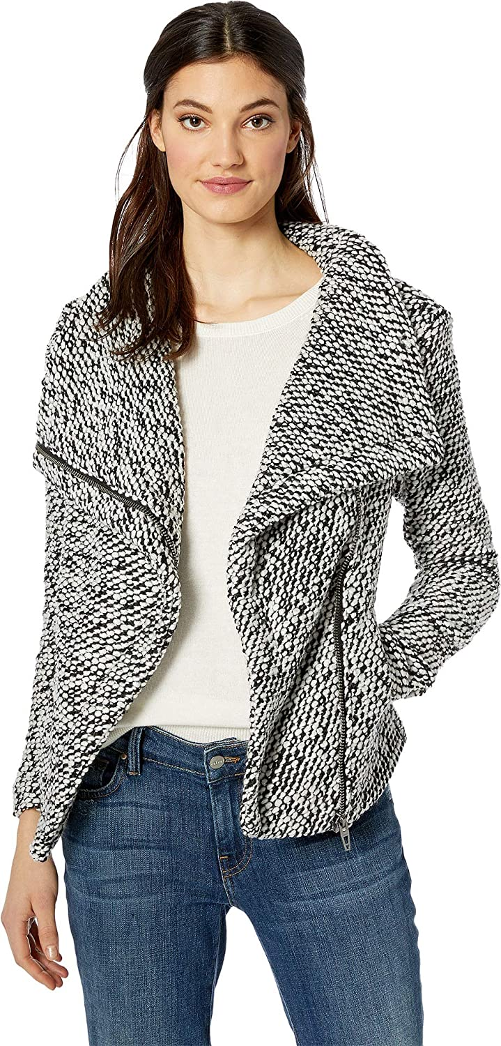 [BLANKNYC] Blank NYC Womens Textured Multicolor Black White Jacket in Friend Zone