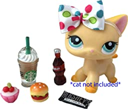 LPS Littlest Pet Shop 6 PC Lot Accessories Food Coffee Bow Candy Cupcake