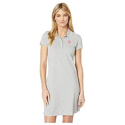 U.S. POLO ASSN. Dot Polo Dress (Heather Grey) Women