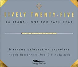 """Lucky Feather Happy 25th Birthday Gifts for Women - 14K Gold Dipped Beads Bracelet on Adjustable 7""""- 8"""" Cord - Turning 25 Birthday Gifts for Her"""