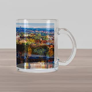 Lunarable Wanderlust Glass Mug, Scenic Summer Old Town Charles Bridge over Vltava River in Prague Czech Republic, Printed Clear Glass Coffee Mug Cup for Beverages Water Tea Drinks, Multicolor