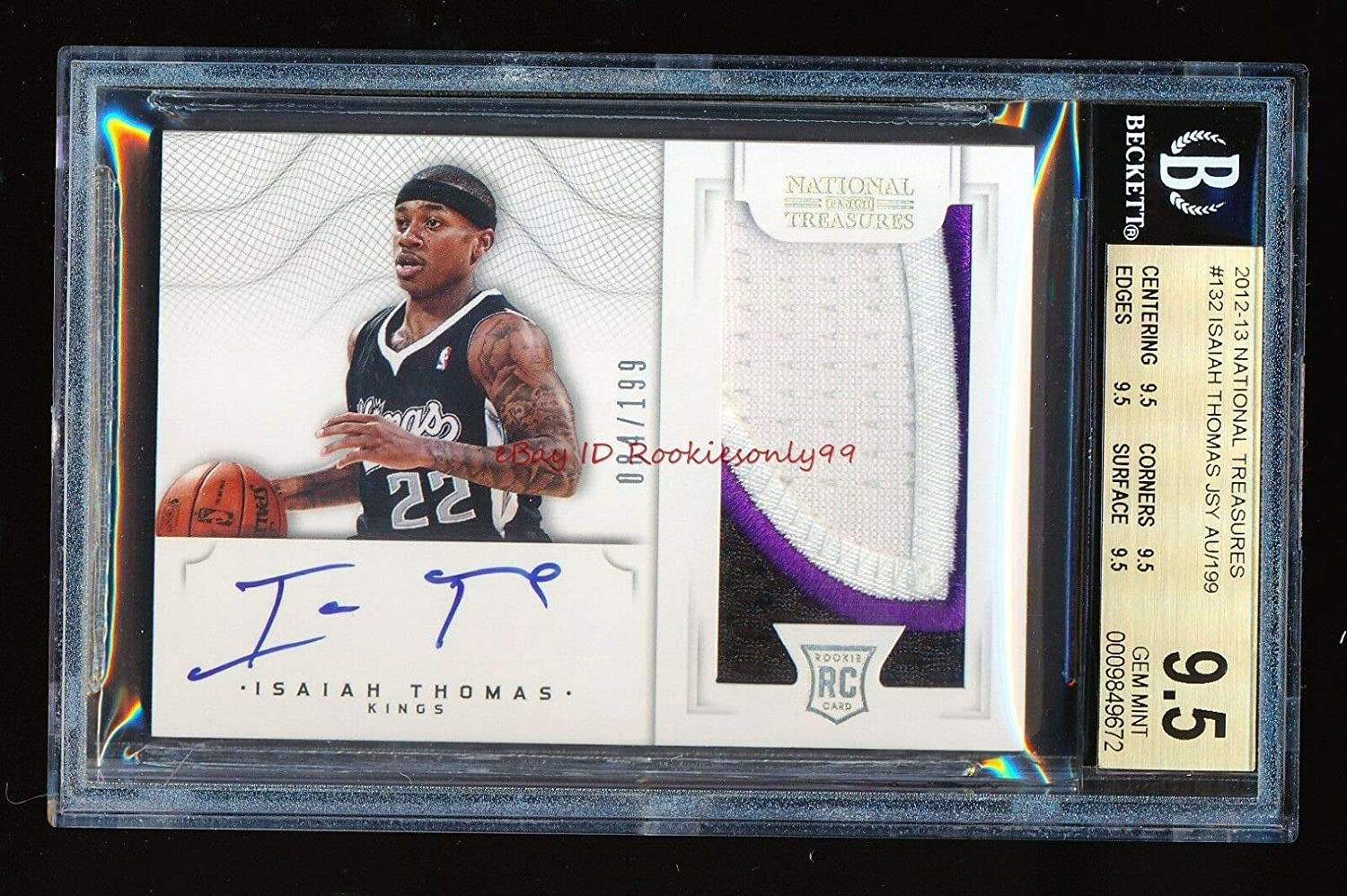 BGS 9.5 ISAIAH THOMAS Washington Mall 2012 NATIONAL RC 19 # PATCH Super Special SALE held AUTO TREASURES