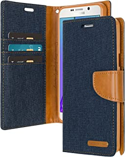 Galaxy Note 5 Wallet Case with Free 4 Gifts [Shockproof] GOOSPERY Canvas Diary Ver.Magnetic [Denim Material] Card Holder with Kickstand Flip Cover for Samsung Galaxy Note5 - Navy, NT5-CAN/GF-NVY