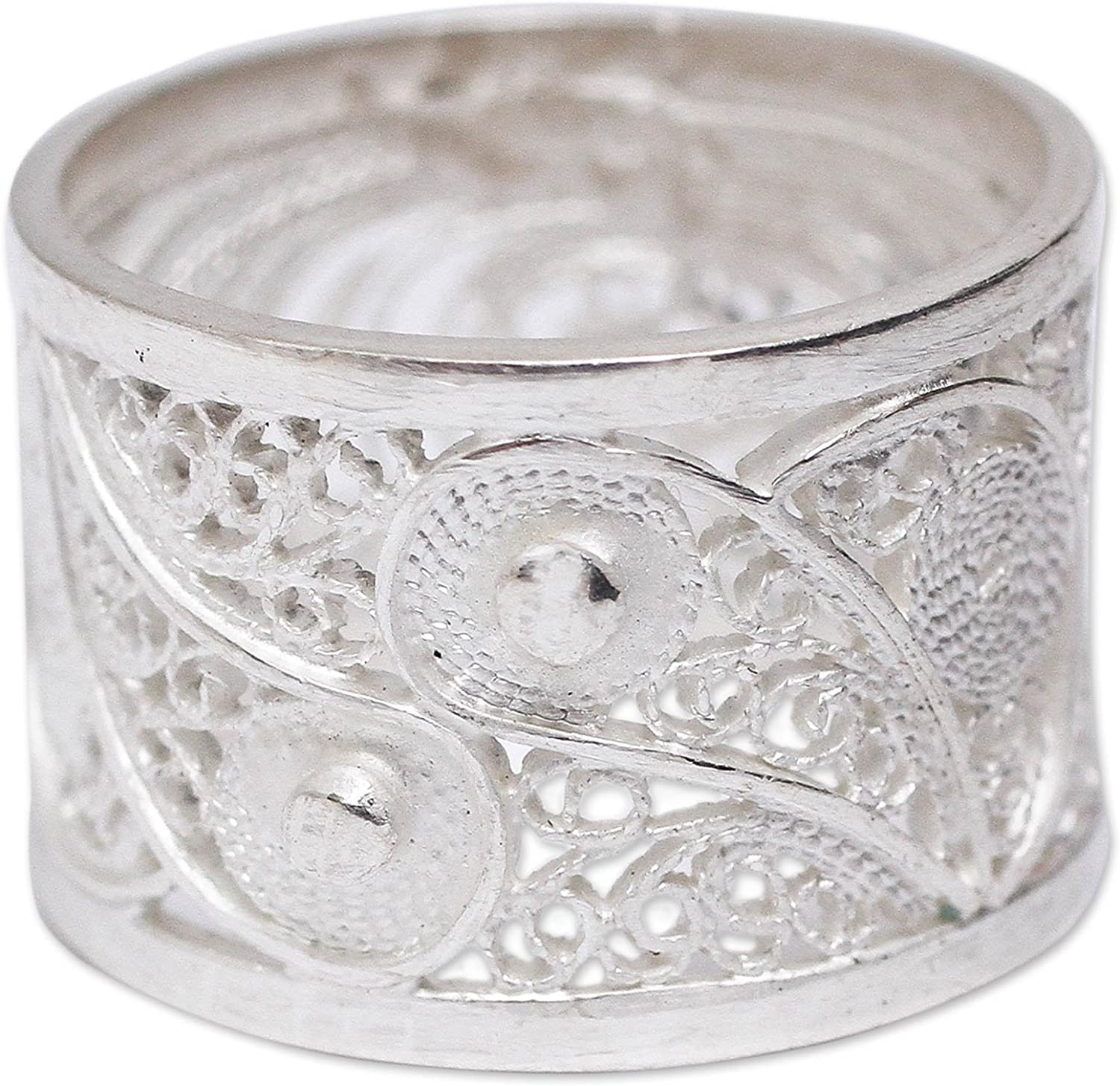 NOVICA overseas .925 It is very popular Sterling Silver Handcrafted Filigree Ring Yang Yin