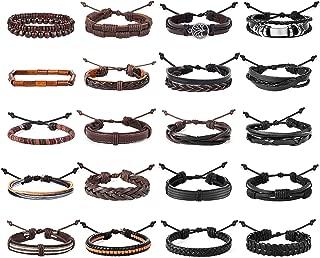 20 Pcs Braided Bracelet Set Men Beads Leather Wristbands Boho Ethnic Tribal Linen Hemp Cords Wrap Bracelets String Handmade Jewelry