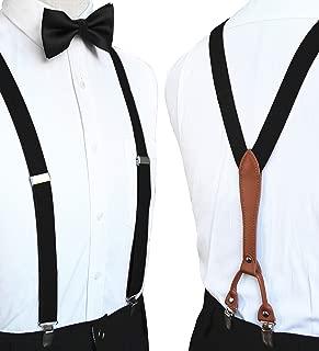 RBOCOTT Solid Color Suspender and Silk Bow Tie Sets for Men